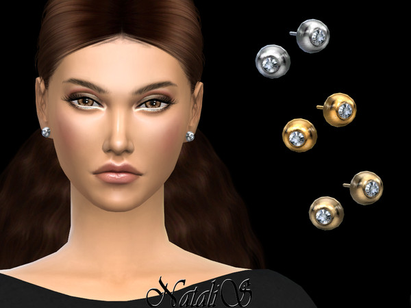 Round bezel stud earrings by NataliS at TSR image 2722 Sims 4 Updates