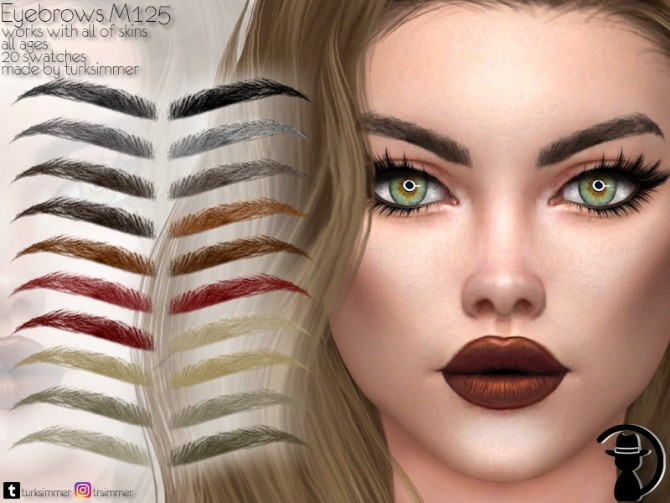 Sims 4 Eyebrows M125 by turksimmer at TSR