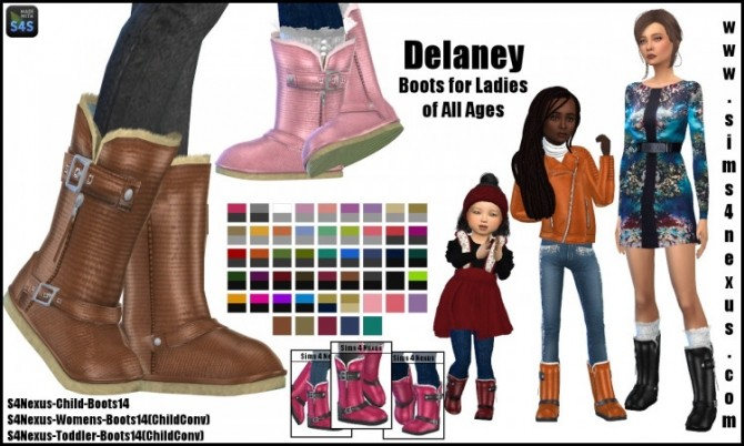 Sims 4 Delaney boots (all ages) by SamanthaGump at Sims 4 Nexus