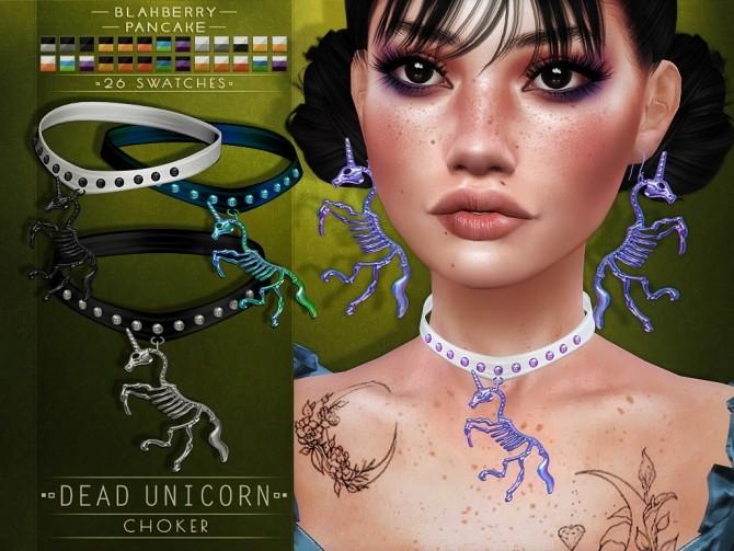 Dead unicorn earrings & choker at Blahberry Pancake image 2871 670x503 Sims 4 Updates