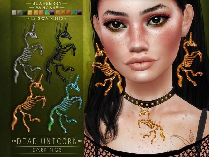 Dead unicorn earrings & choker at Blahberry Pancake image 2881 670x503 Sims 4 Updates