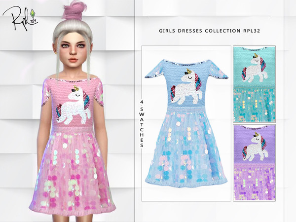 Sims 4 Girls Dresses Collection RPL32 by RobertaPLobo at TSR