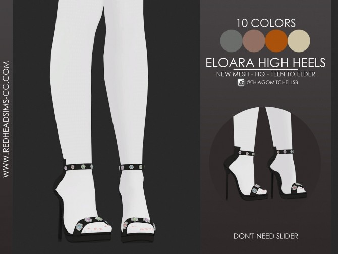 ELOARA HIGH HEELS by Thiago Mitchell at REDHEADSIMS image 2961 670x503 Sims 4 Updates