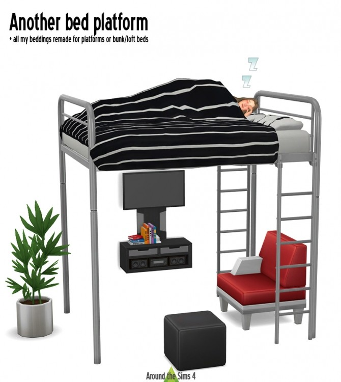 Sims 4 New bed platform & all beddings remade for platforms or bunk/loft beds at Around the Sims 4