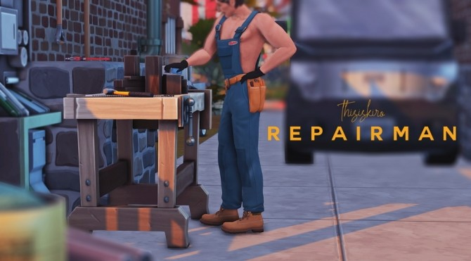Sims 4 Repairman & Safety hard hat at Kiro