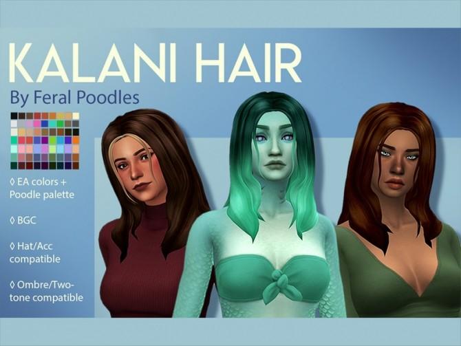 Sims 4 Kalani Hair by feralpoodles at TSR