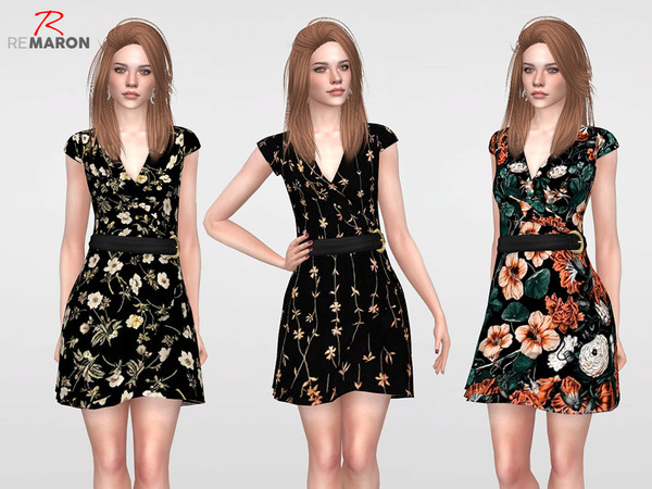 Sims 4 Floral Dress for Women 05 by remaron at TSR