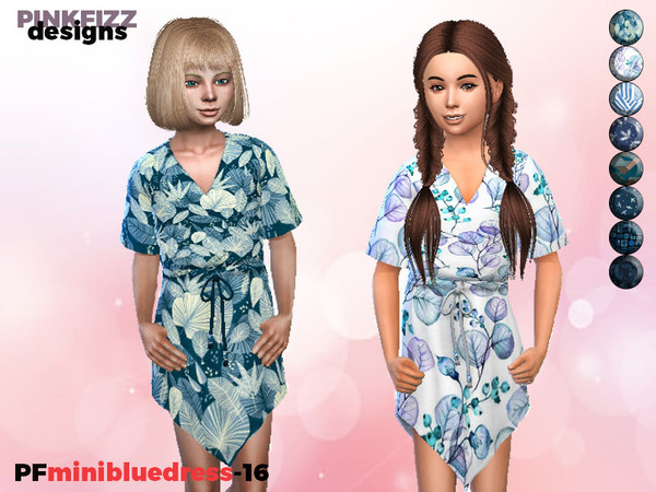 Mini Blue Dress P16 by Pinkfizzzzz at TSR image 3122 Sims 4 Updates