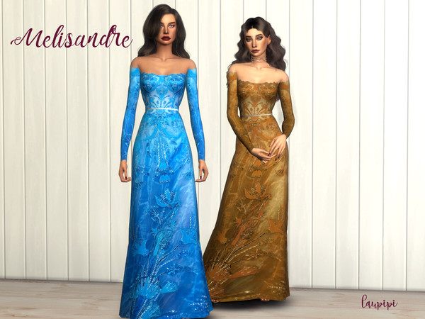 Sims 4 Melisandre long sleeves embellished dress by laupipi at TSR