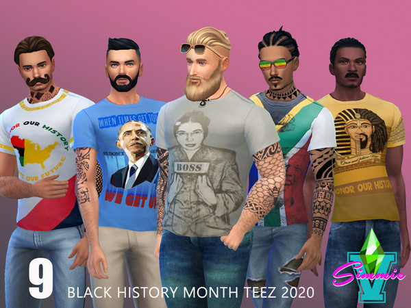 Sims 4 Black History Teez 2020 by SimmieV at TSR