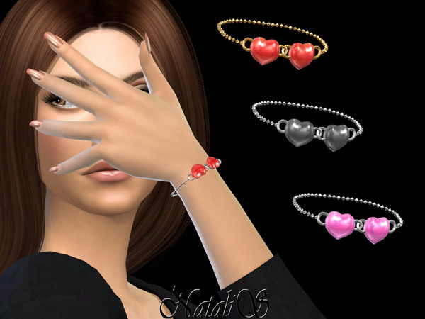 Sims 4 Enamel heart bracelet by NataliS at TSR