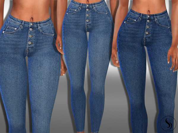 Female Front Button Vintage Realistic Jeans by Saliwa at TSR image 4210 Sims 4 Updates