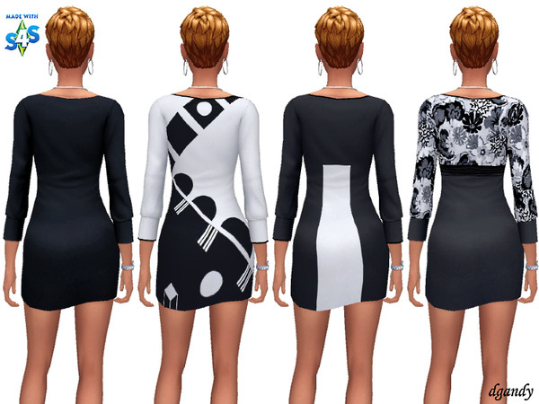Sims 4 Black and White Dresses 20200218 by dgandy at TSR