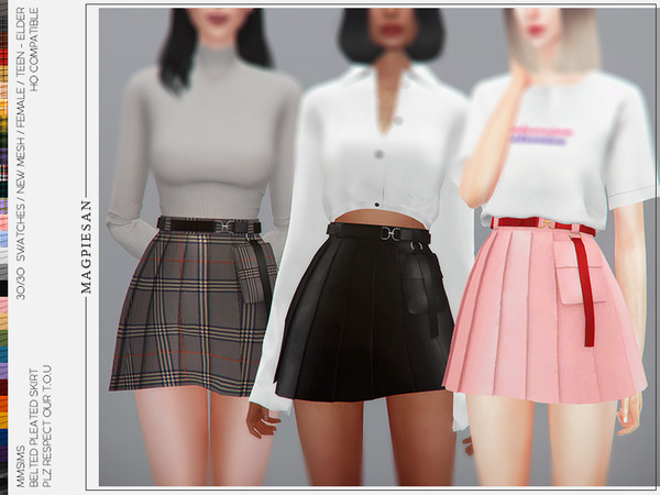 Belted pleated skirt by magpiesan at TSR image 499 Sims 4 Updates