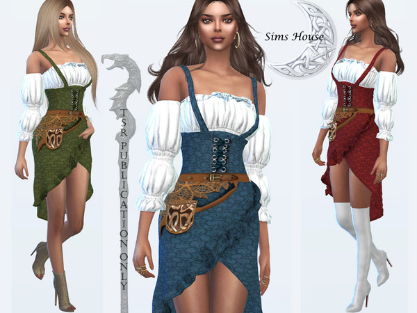 Sims 4 Costume magicians Blouse and strap dress by Sims House at TSR