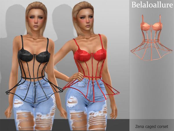 Sims 4 Belaloallure Zena caged corset by belal1997 at TSR