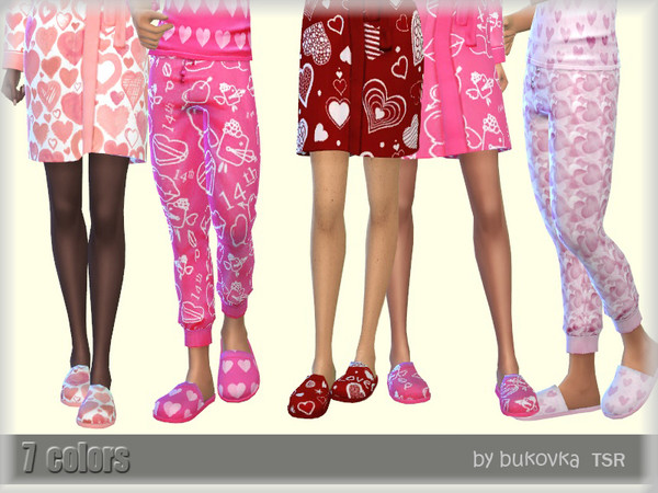 Sims 4 Valentines Day slippers by bukovka at TSR