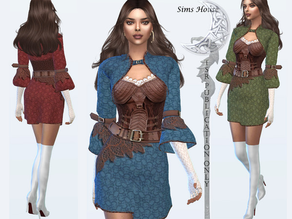 Sims 4 Magicians suit with short skirt and jacket by Sims House at TSR