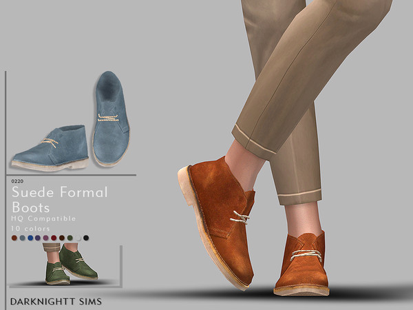 Sims 4 Suede Formal Boots by DarkNighTt at TSR