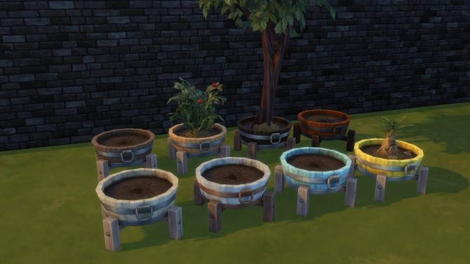 Barrel planter pot by Serinion at Mod The Sims image 597 670x377 Sims 4 Updates