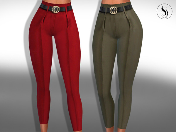 Sims 4 Female Cotton Pants with Belt by Saliwa at TSR