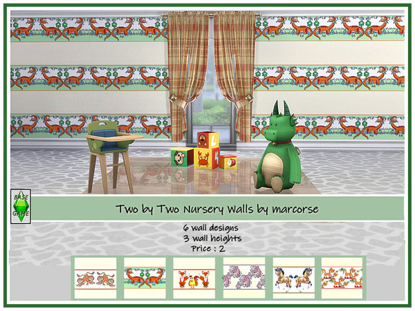 Sims 4 Two by Two Nursery Walls by marcorse at TSR