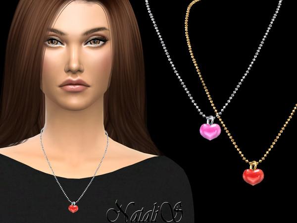 Sims 4 Enamel heart pendant by NataliS at TSR
