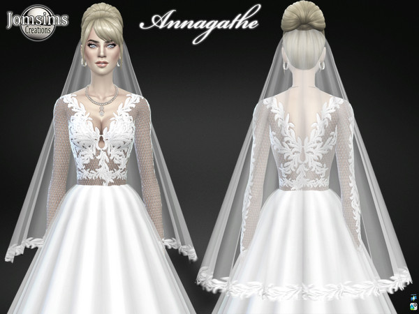 Annagathe wedding dress by jomsims at TSR image 6114 Sims 4 Updates