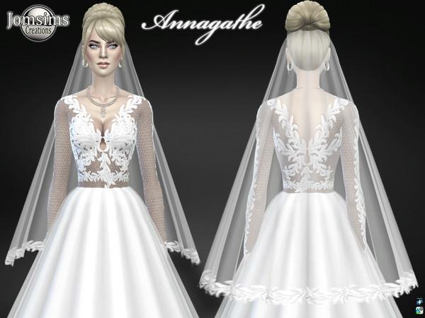 Sims 4 Annagathe wedding dress by jomsims at TSR