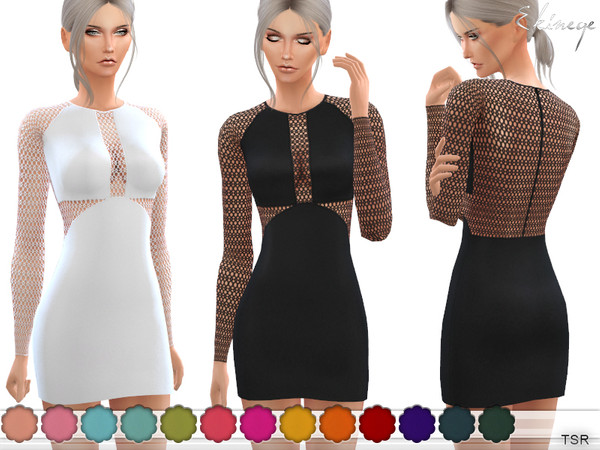 Lace Panel Mini Dress by ekinege at TSR image 6120 Sims 4 Updates