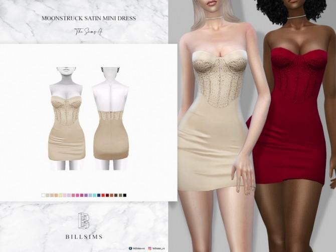 Sims 4 Moonstruck Satin Mini Dress by Bill Sims at TSR