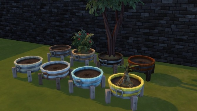 Sims 4 Barrel planter pot by Serinion at Mod The Sims