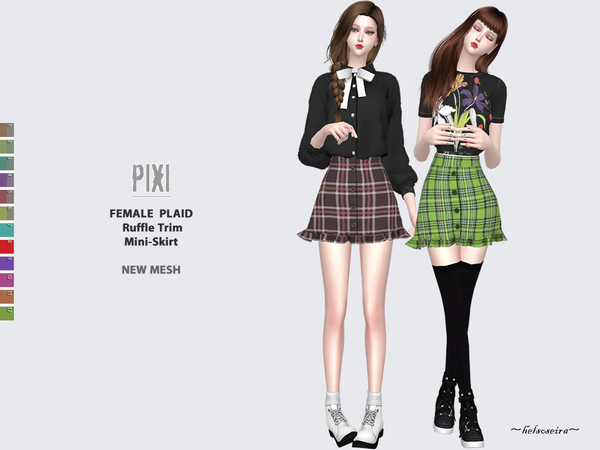 Sims 4 PIXI Plaid Mini Skirt by Helsoseira at TSR