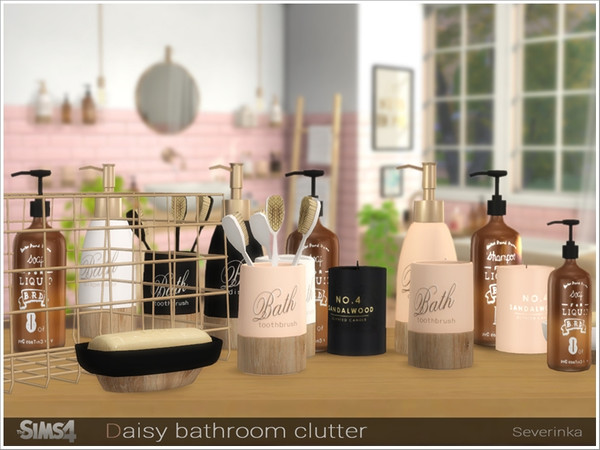 Sims 4 Daisy bathroom clutter by Severinka at TSR