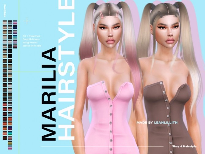 Sims 4 Marilia Hairstyle by Leah Lillith at TSR