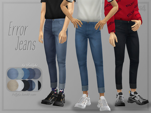 Sims 4 Error Skinny Cuffed Jeans by Trillyke at TSR