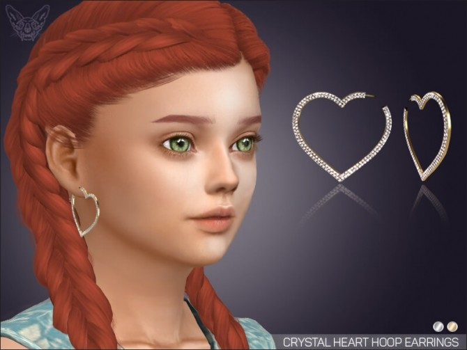 Sims 4 Big Crystal Heart Hoops For Kids at Giulietta
