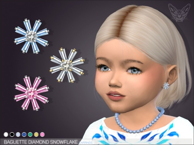 Baguette Diamond Snowflake Earrings For Toddlers at Giulietta image 716 670x503 Sims 4 Updates