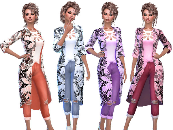 Sims 4 T55 Denim flower suit by TrudieOpp at TSR