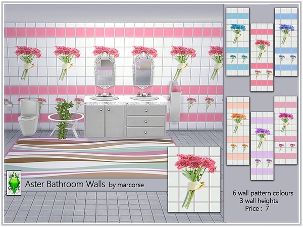 Sims 4 Aster Bathroom Walls by marcorse at TSR