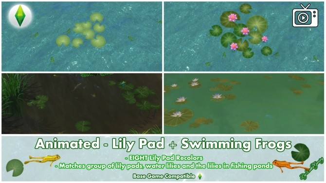 Sims 4 Animated Lily Pad + Swimming Frogs by Bakie at Mod The Sims