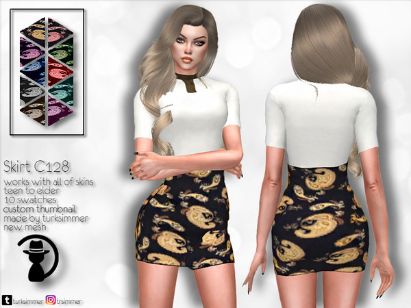 Sims 4 Skirt C128 by turksimmer at TSR
