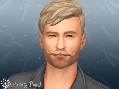 Sims 4 Mustache and 3days stubble at Sims 4 Diversity Project
