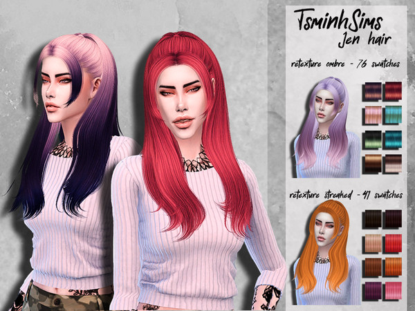 Sims 4 Hair retexture TsminhSims Jen by HoneysSims4 at TSR