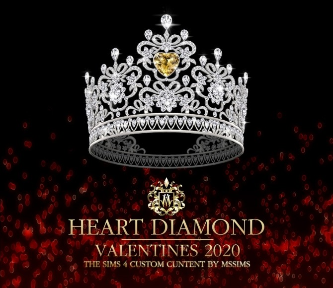 Sims 4 HEART DIAMOND CROWN VALENTINE 2020 at MSSIMS