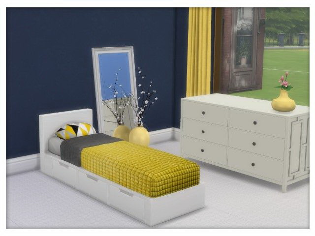 Sims 4 Single Bed and Bedding by Oldbox at All 4 Sims
