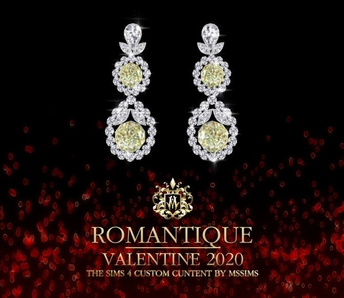 Sims 4 ROMANTIQUE NECKLACE & EARRINGS VALENTINE COLLECTION at MSSIMS