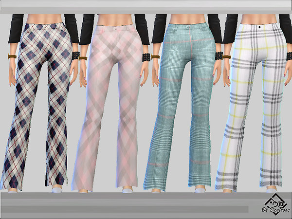 Sims 4 Check Trousers Set by Devirose at TSR