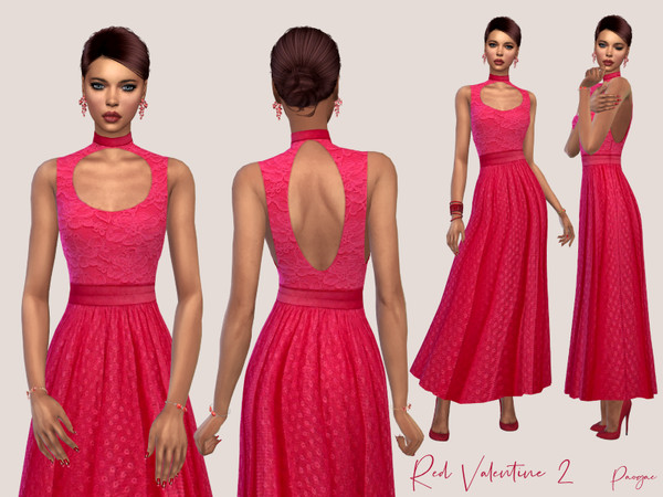 Red Valentine 2 elegant long dress by Paogae at TSR image 979 Sims 4 Updates