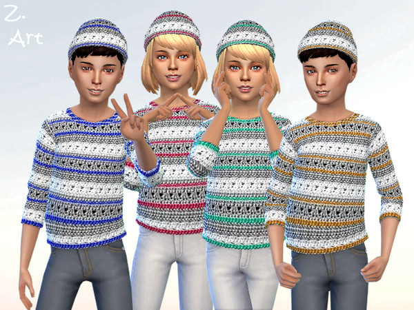 Sims 4 Colorful crochet sweater with beanie by Zuckerschnute20 at TSR